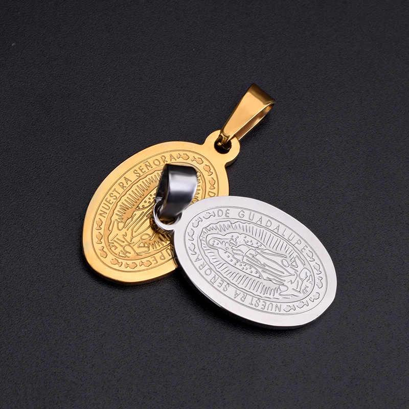 SOITIS Meryem Hıristiyan Katolik Kilisesi Kolye Altın Gümüş Renk Çift Taraflı Desen Din Meryem Kolye