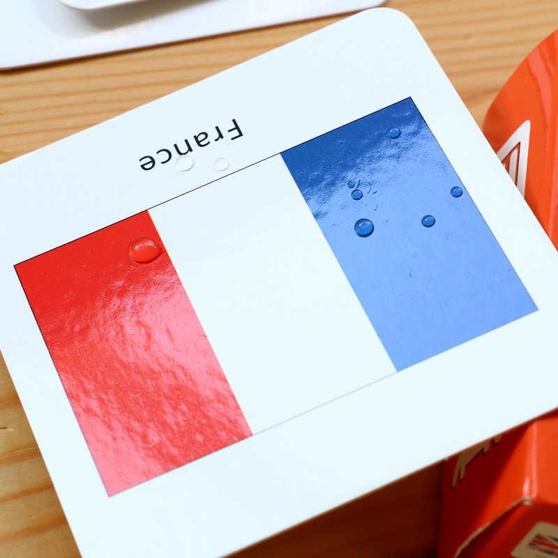 44 sztuk/zestaw dzieci gry w karty wczesne zabawki edukacyjne poznawcze w języku angielskim karta do nauki flaga narodowa materiały montessori gry dla dzieci