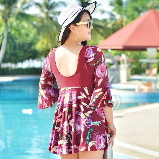 Plus Size Maillot De Bain Half Sleeve Modest Dress Swimming Suit Swimwear  One Piece Swimsuit Bathing Suits for Women XL-5XL