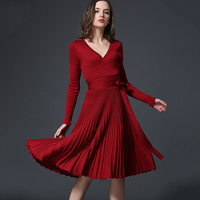 V Neck Long Sleeve Tunic Winter Dress Spring Autumn Pleated Knitted Slim Vintage Dresses Women Solid