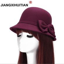 Весенняя мода Винтаж Для женщин дамы шерсти фетровая шляпа ковша купол колокол лук Фетр Шапки Для женщин Кепки Шапки шляпа 6 цветов