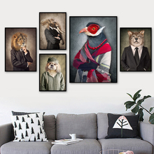 Fashion Lion Dog Elephant Bird Wolf Wall Art Canvas Painting Nordic Posters And Print Animal Pictures For Living Room Decor