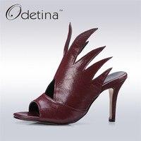 Odetina 2017 New Designer Women High Heel Sandals Gladiator Fashion Ladies Thin Heel Open Toe Summer