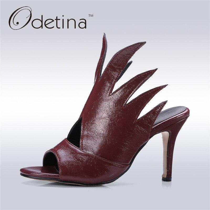 Odetina 2017 New Designer Women High Heel Sandals Gladiator Fashion Ladies Thin Heel Open Toe Summer Party Shoes Slingback Mules women sandals 2017 summer shoes woman flips flops gladiator wedges bohemia fashion rivet platform female ladies casual shoes