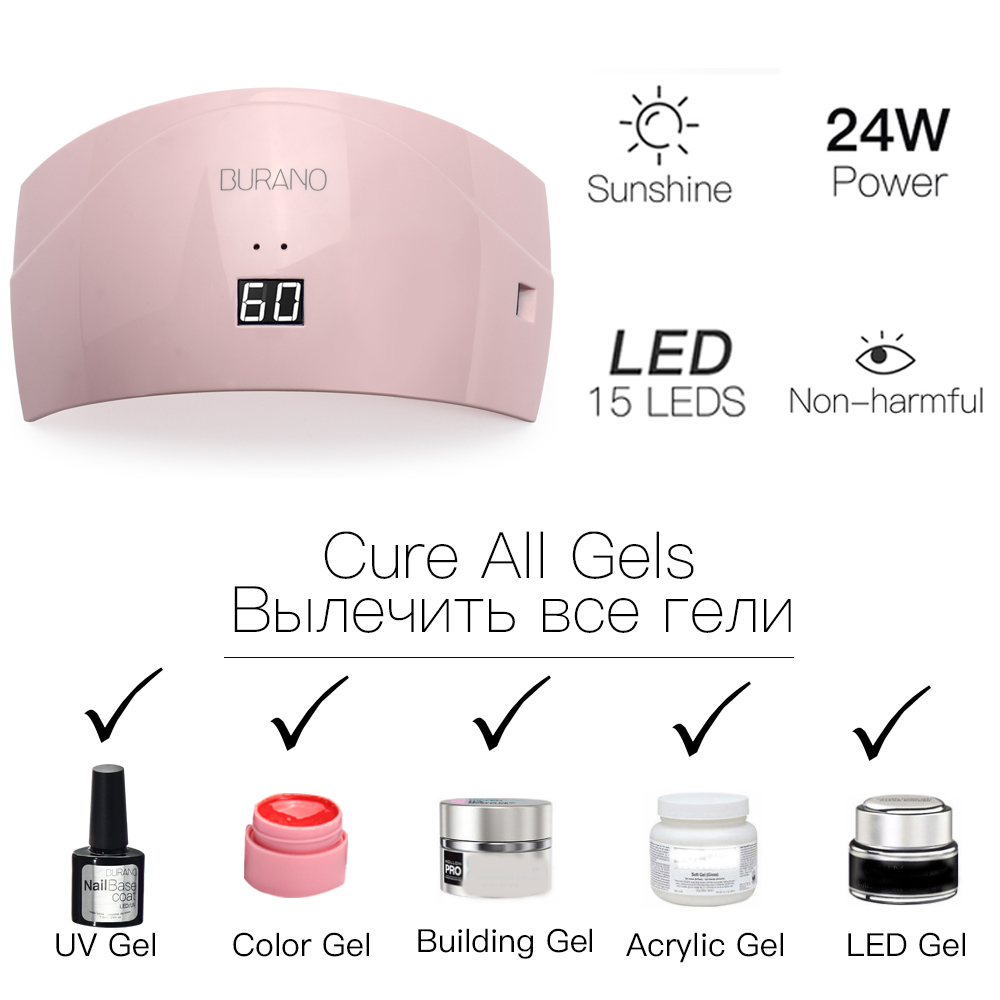 Burano 24w led lamp & choose 8 colors soak off uv gel set polish ...