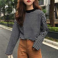 T-shirts Frauen Retro Gestreiften Langarm Tops Freizeit Einfache Studenten Allgleiches T Hemd Weiche Warme Koreanische Frauen Herbst Mode