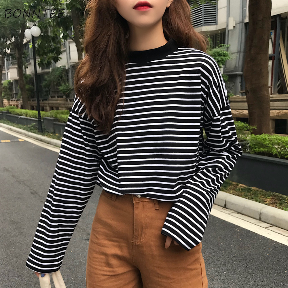 T-shirts Women Retro Striped Long Sleeve Tops Leisure Simple Students All-match T Shirt Soft Warm Korean Womens Autumn Fashion