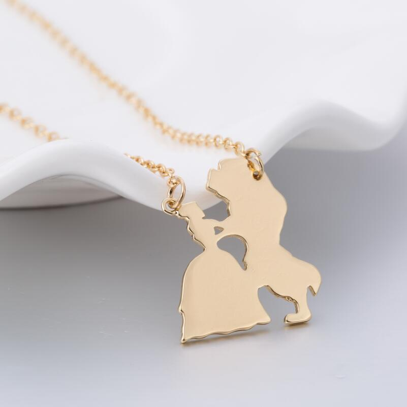 Jisensp Movie Jewelry Beauty and the Beast Necklace Prince Princess Charm Pendants Necklace Gift of Lovers Wedding Necklace N238