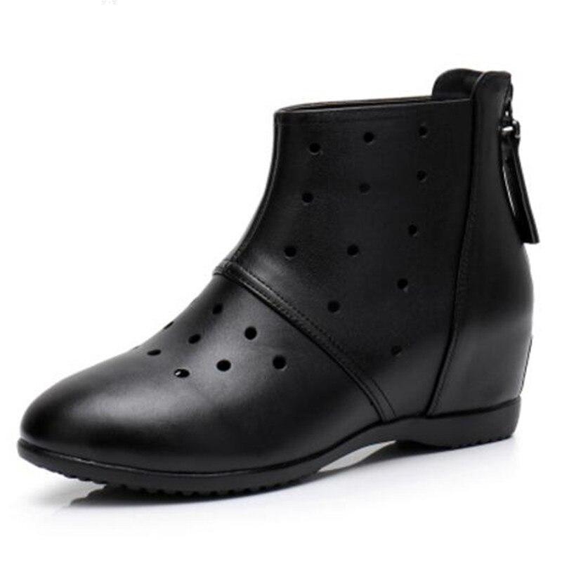 Verano Planas Genuinos En Huecos Aumento Botas Primavera El Mujeres blanco Cuero Otoño Nueva Tamaño Tobillo Beige negro Ocasionales Más De 2018 Zapatos Sandalias Del xXaPS4f