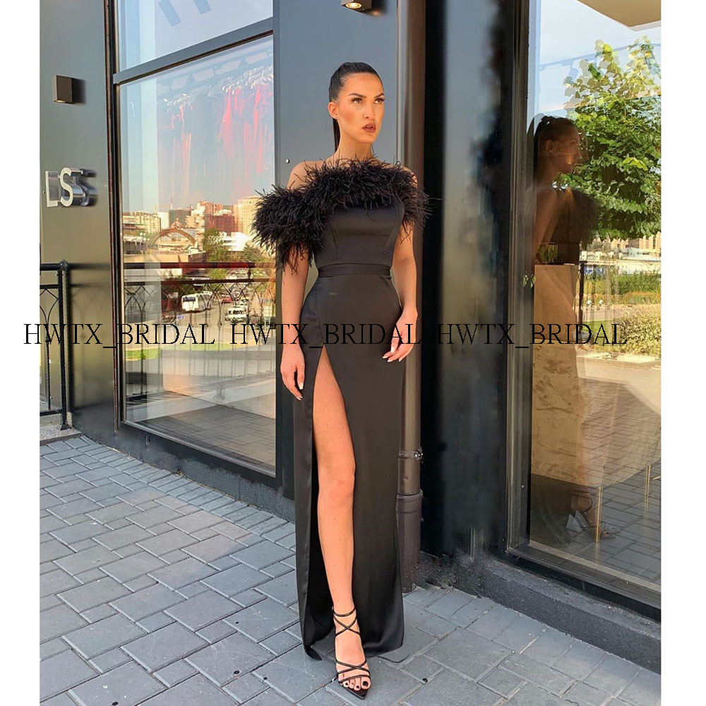 cd909567ba All kinds of cheap motor feather evening dress black in All B