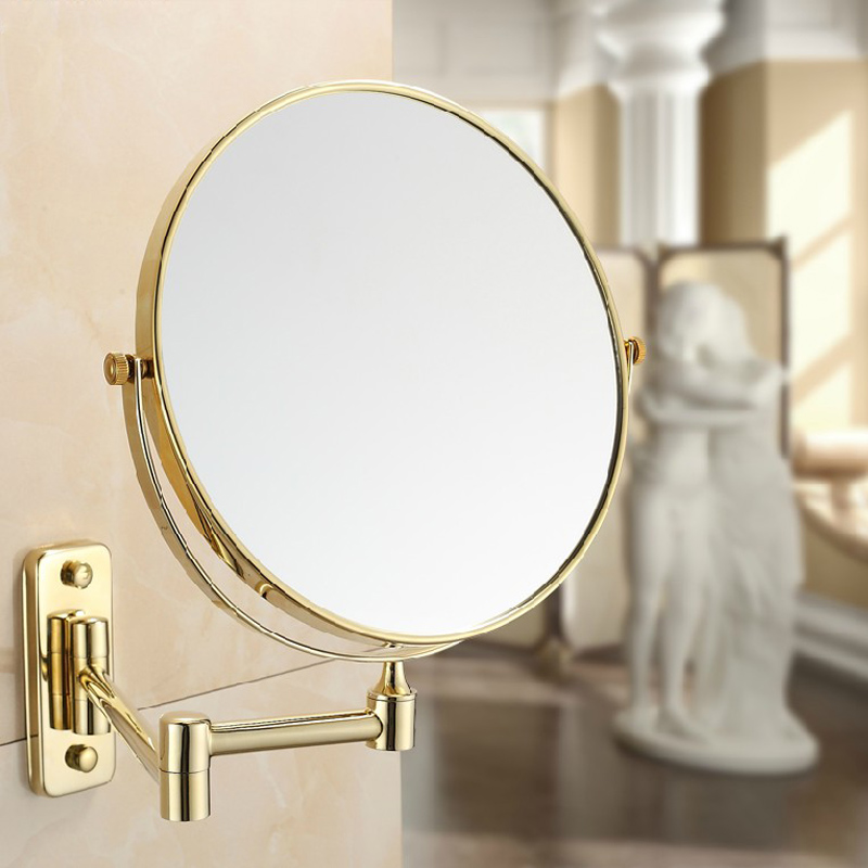 All Copper Beauty Mirror Folded 8 Inch Gold Plated Bathroom European Style