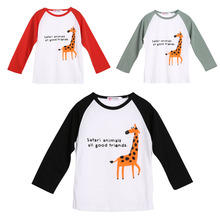 Autumn Raglan Giraffe Patten Baby Kids T shirt Girl Boy Tops Long Sleeve Cotton Children Clothing