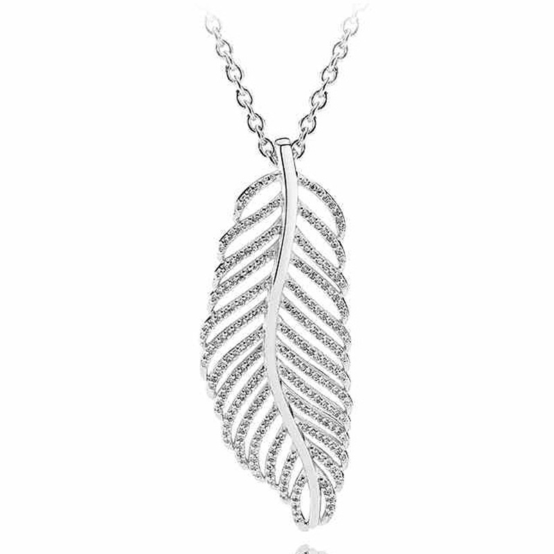 032f0ed81 Aliexpress.com : Buy Light as a Majestic Feather Cascading Glamour Floating  Grains Necklace For Women Pandora Jewelry 925 Sterling Silver Necklace from  ...