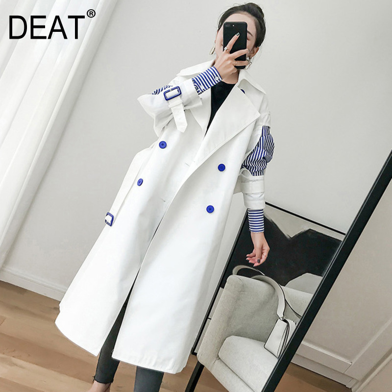 DEAT 2018 new fashion womne clothes korean girl's Windbreaker Korean Two Paper Sleeve Joint Stripe Chic Loose Coat WC00200L