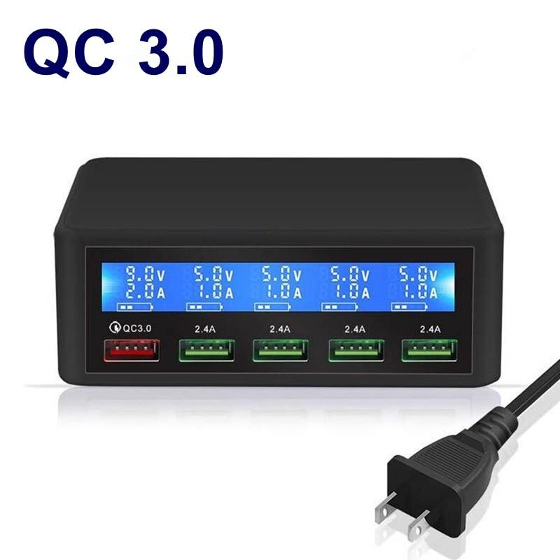 QC 3.0 Quick Charge 5 Port Usb LCD Display Carregador Multi Mobile Phone Fast Wall Chargeur For Iphone Xiaomi Portatil Cargador