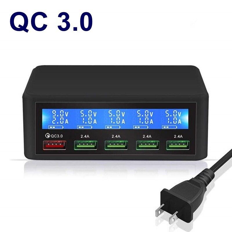 Tongdaytech qc 3.0 carga rápida 5 portas usb display lcd carregador multi telefone rápido chargeur para iphone xiaomi portatil carregador