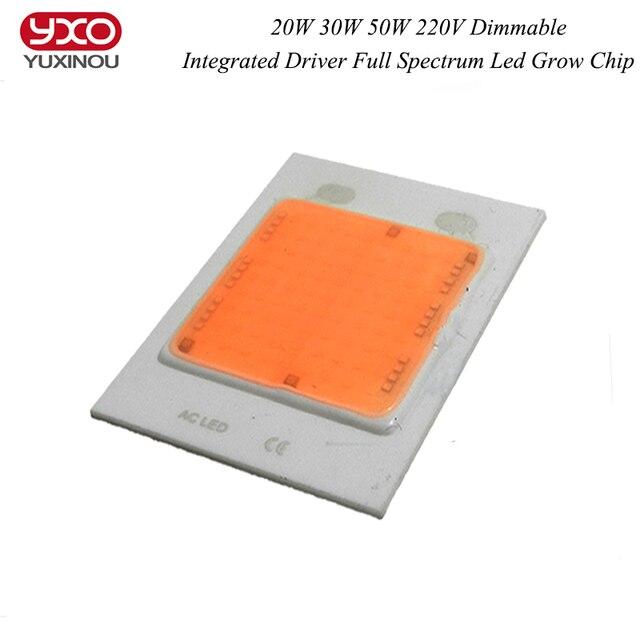 1pcsNew 20W 30W 50W AC 220V 380~840nm COB driverless integrated Driver led full spectrum led light grow chip hydroponics DIY led