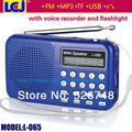 Frete grátis L-065 multifuncional gravador de voz digital com FM MP3 player de rádio e lanterna LED apoio TF/USB