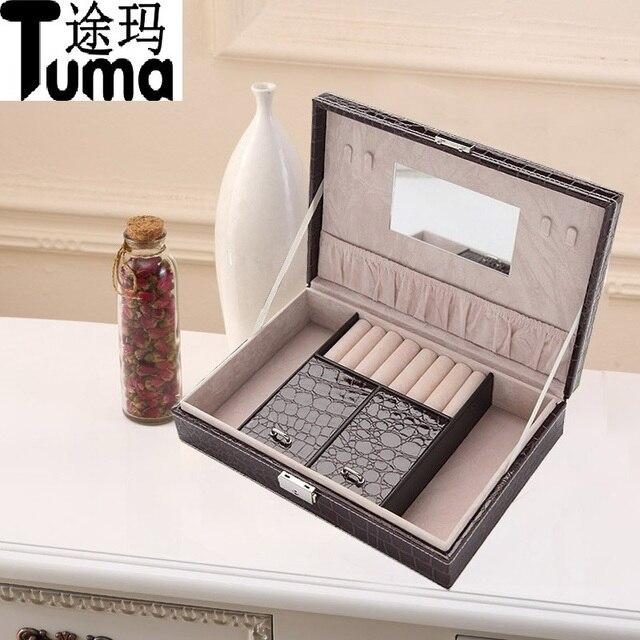 Fashion Leather Jewelry Box Crocodile Pattern Storage Single Store