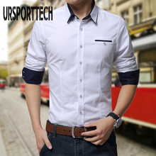 URSPORTTECH Fashion Mens Cotton Dress Shirt Men Casual Long Sleeve Slim Fit Shirts Patchwork Business For Size 5XL