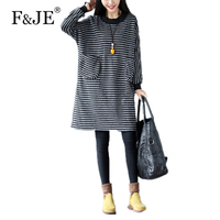 F JE 2017 Autumn Arts Style Women Long Sleeve Striped Dress All Matched Casual Loose Dresses