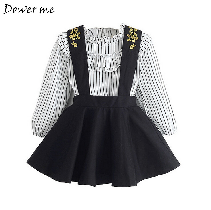 New Spring Baby Girl Clothes Children Stripe Long Sleeve Shirt+Embroidery Straps Princess Dress 2pcs Set Autumn Girls Clothing free shipping children clothing spring girl three dimensional embroidery 100% cotton suit long sleeve t shirt pants