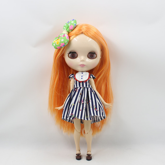 Factory Neo Blythe Doll Orange Hair Jointed Body 30cm