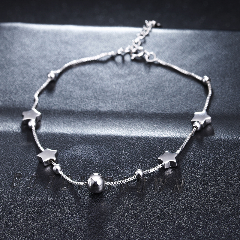 100% 925 sterling silver fashion little star ladies`anklets wholesale female jewelry anklet women birthday gift cheap