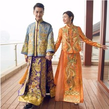 Bridal Gown Robe Chinese Style Show China wedding dress ancient bride Elegant toast suits Overseas Traditional Dress