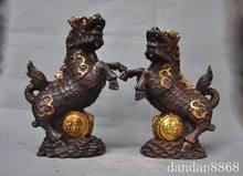 37e54967169 Christmas china fengshui bronze gilt dragon kylin Kirin Chi-Lin Kilin Qilin  statue pair Halloween