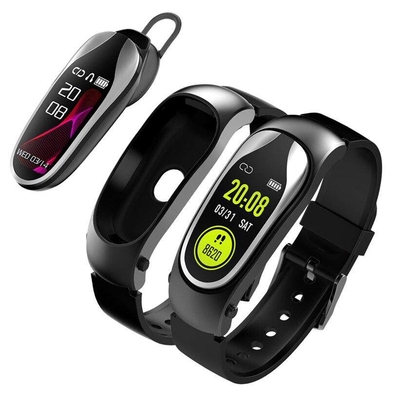 KR04 Bracelet de Fitness bande intelligente Bluetooth casque réponse appel course Bracelet avec écouteurs pour Xiaomi Huawei téléphone intelligent