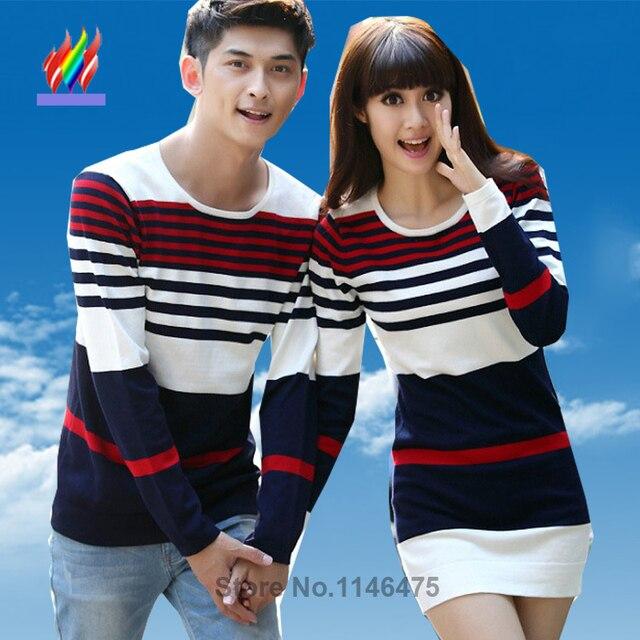 9e52457b22 2016 Hot Selling Men Women Fashion Cute Korean Matching Couple Clothes Tops  Sweet Thin Casual Striped