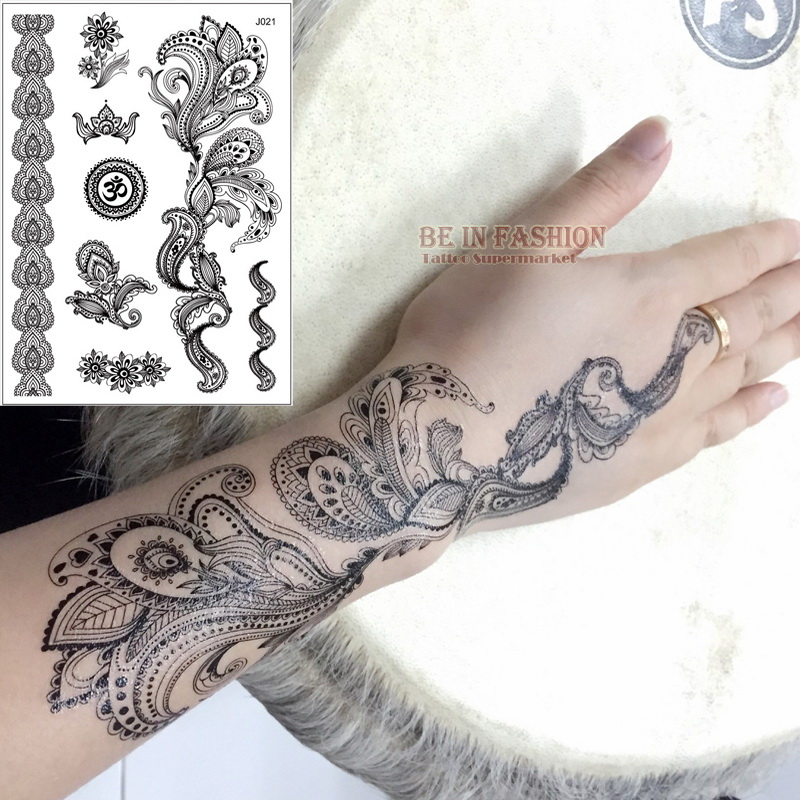 Henna Style Tattoos Lace Tattoo: 1sheet Black White Henna Taty Fake Lace Tattoo Stickers