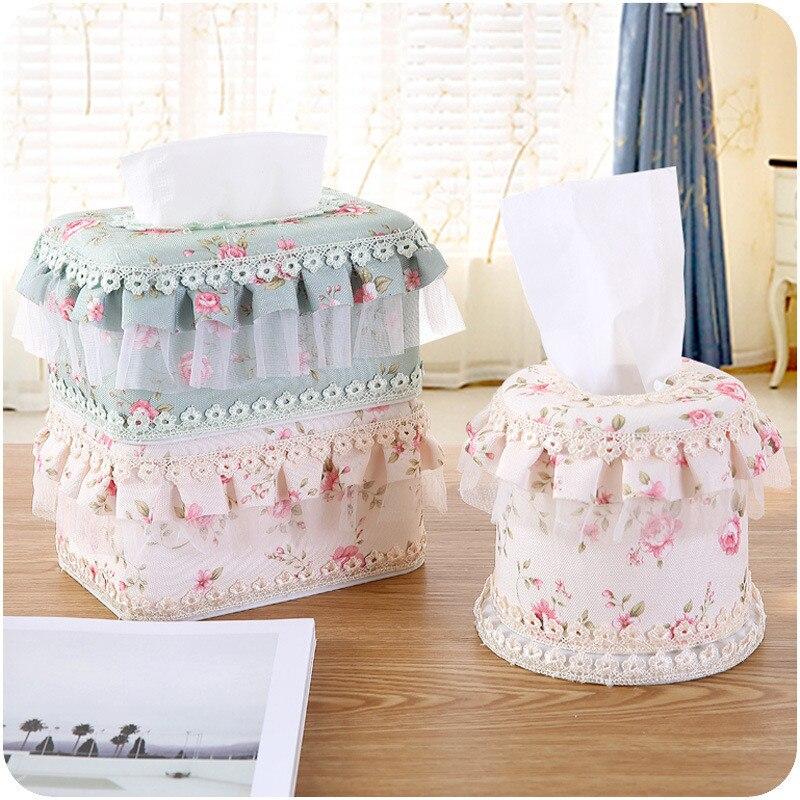 ᗑ】Multifunción moda Encaje Cajas de pañuelos lindo Hogar y tejido ...