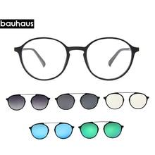 Bauhaus Newest four Lens Italy Design Magnet Sunglasses . woman  Polarized Clips Myopia glasses frame five color fashion Sun Gla