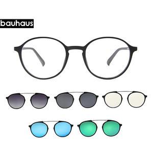 4297d96559 Bauhaus Newest four Lens Italy Design Magnet Sunglasses . woman Polarized  Clips Myopia glasses frame five color fashion Sun Gla