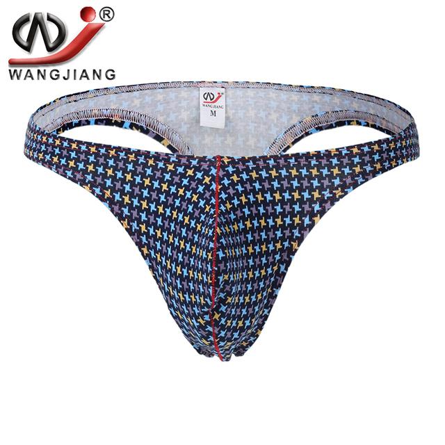 Mens Cotton Thongs Sexy Lingerie Men Low Rise String Homme Gay Bikini Briefs Print Men Thong Penis Pouch Tanga Hombre Jockstrap