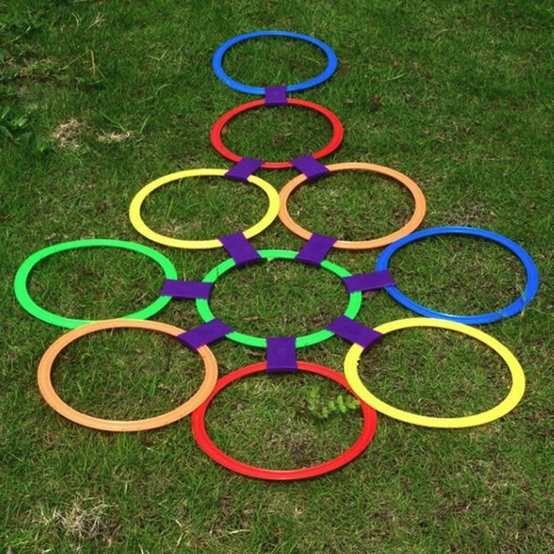 Kids Outdoor Jumping Ring Games with Friends Sport Toy Hopscotch Jump to the Grid Children Sensory Integration Training Game