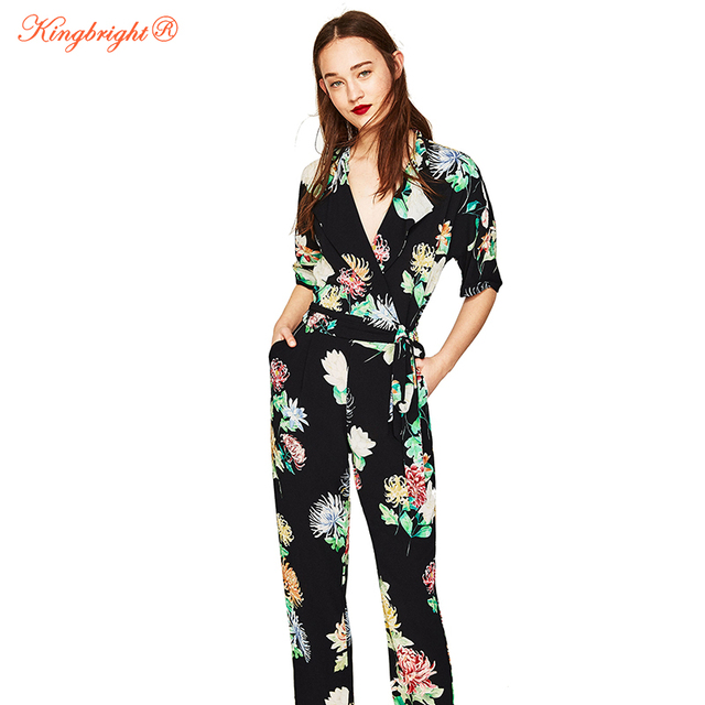 acc1d9aff89 King Bright Boho Sexy Women Jumpsuit Romper Hot drilling Floral Print  Chiffon Summer Jumpsuit Female Overalls