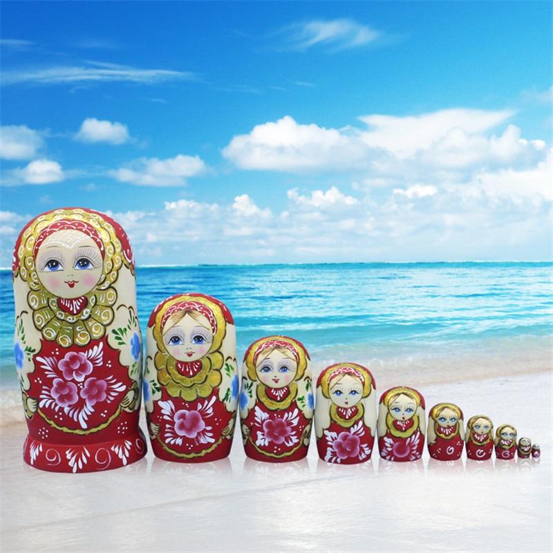 Mnotht 10 couches traditionnelles en bois poupées russes peintes à la main en tilleul sec artisanat Matryoshka poupée jouets cadeau L30