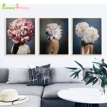 Abstract Peony Flowers Girl Nordic Poster Feather Wall Art Canvas Painting Print Modern Pictures For Living Room Unframed