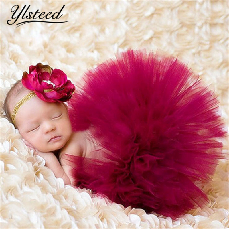 Newborn Tutu Skirt Infant Princess Costume Outfit for Photo Shooting Baby Tutu Skirt Headband Newborn Photography Accessories цена