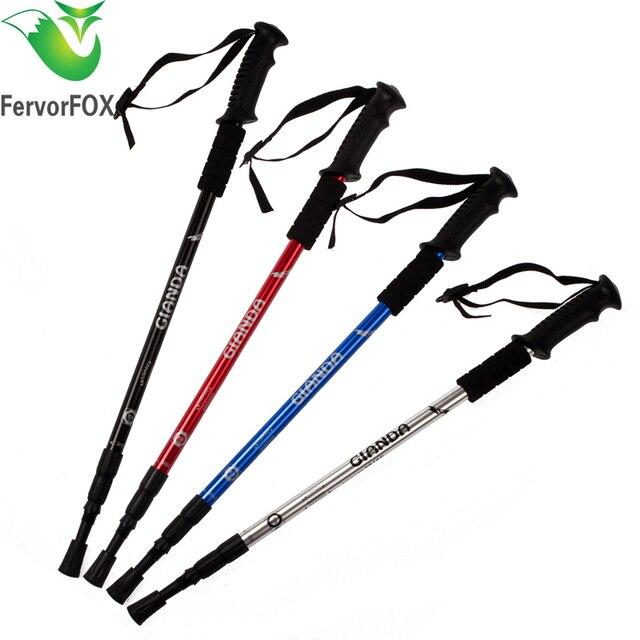 1daf0f43c 1 UNID bastón Para Caminar Senderismo Sendero de Trekking Polos Ultraligero  sección bastones Ajustables Bastones