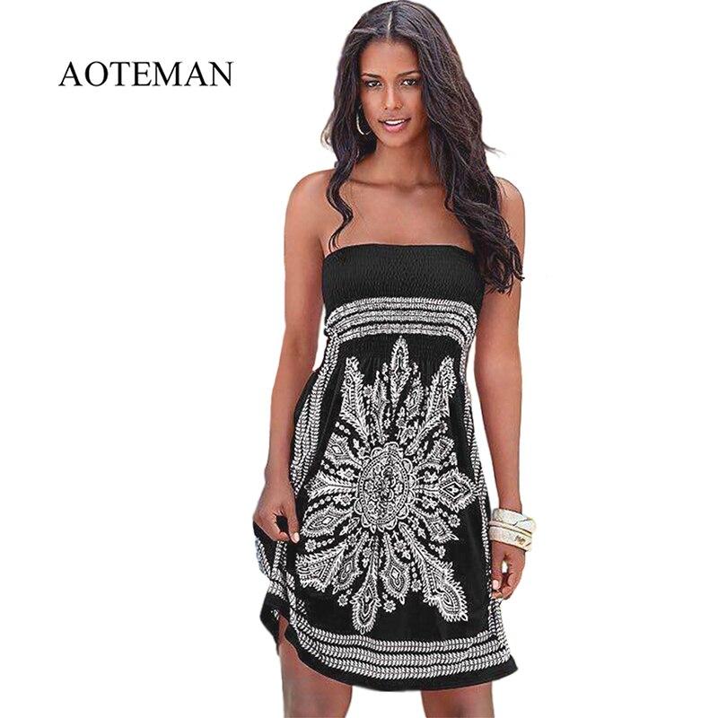 49047111d9b8d AOTEMAN Summer Dress Women Elegant Casual Print Loose Strapless ...
