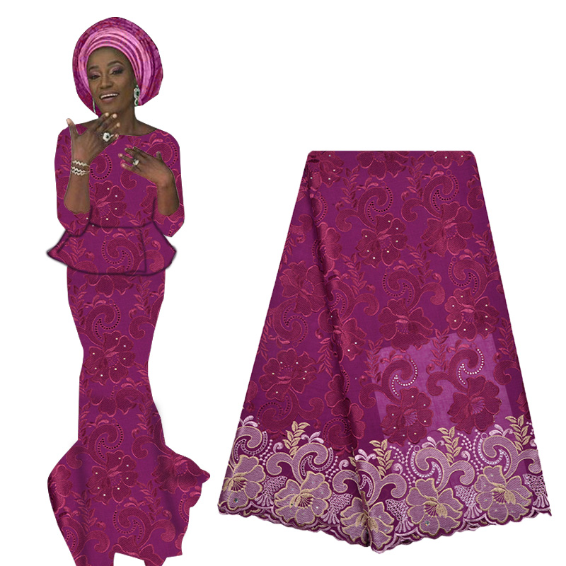 2019 Latest Swiss Voile Lace African French Cotton Lace Fabric With Beads High Quality Nigerian Voile Lace For Woman Dress