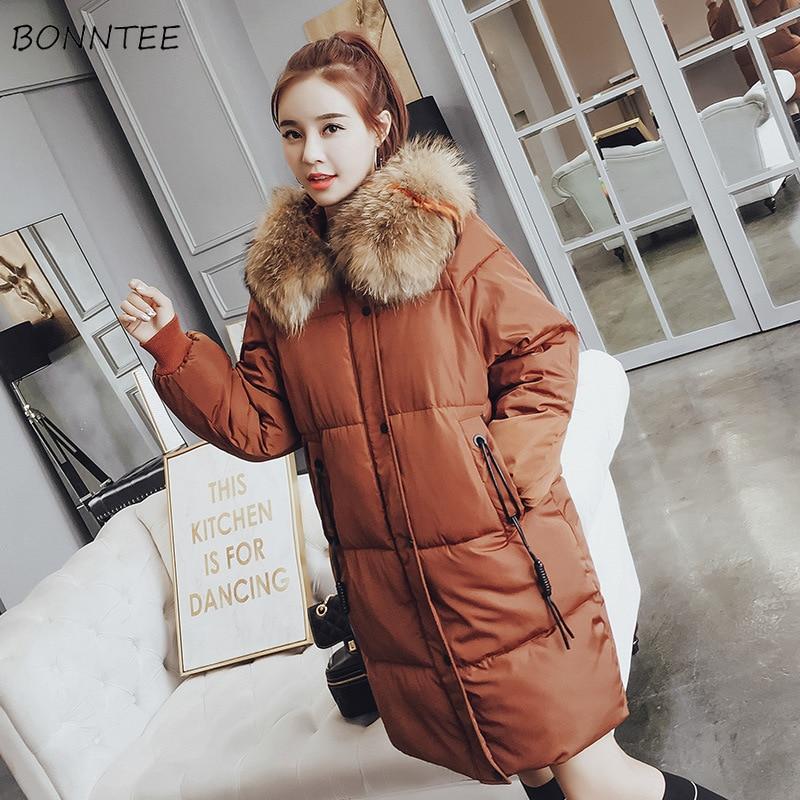 Parkas   Women Winter 2019 Simple Winter Warm All-match Long Sleeve Womens Outwear Pockets Zipper Korean Style Ladies Overcoats