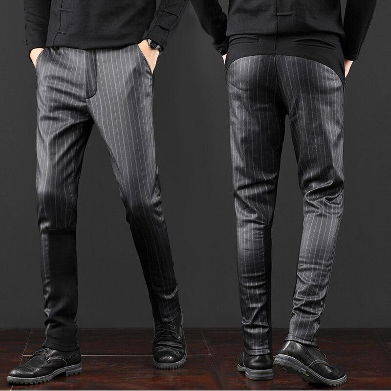 Бесплатная доставка Новый осень зима Модные шаровары Мужская мужской тонкий шов в полоску повседневные корейские брюки с или без бархата