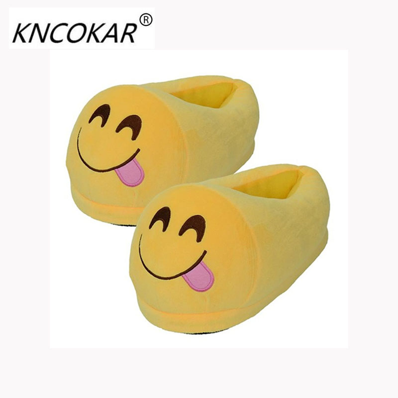KNCOKAR Slippers Cartoon Sweet Warm Plush Slipper Men Women Slippers Spring/Autumn/Winter House Shoes 17 Styles Ulrica yellow plush winter emoji slippers indoor animal furry house home men slipper with fur anime women cosplay unisex cartoon shoes adult