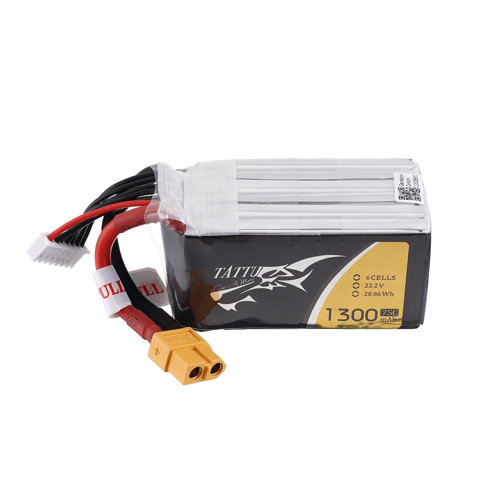 2 pièces TATTU 22.2 V 1300 mAh 75C 6 S XT60 Prise Lipo Batterie pour FPV RC Drone De Course