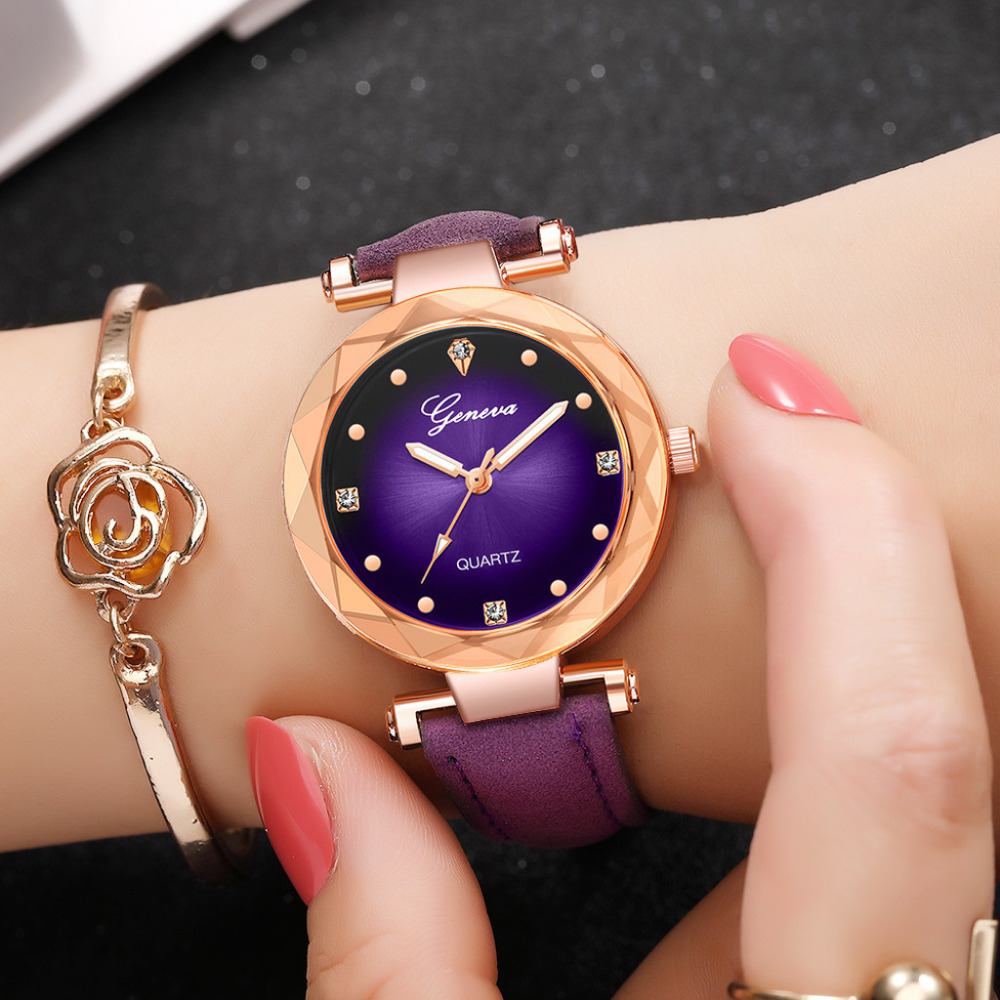 GENEVA Fashion Leather Watches Women Ladies Casual Dress Quartz Wristwatch Reloj Mujer Ladies Gifts Clock Relogio Feminino 618